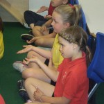 The children learnt some Buddhist meditating signs